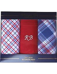 Men's Personalised Initials Luxury Cotton Handkerchief Set (3 Pack)