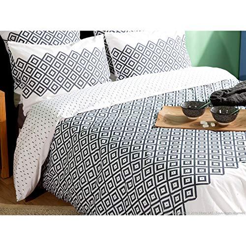 Cheyenne Bettwäsche (Delamaison Cheyenne Bettbezug, Baumwolle, Grau und Weiß, 260 x 240 cm)