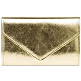 Caspar TA424 stylisch elegante Damen Metallic Envelope Clutch Tasche Abendtasche mit langer Kette, Farbe:gold, Größe:One Size