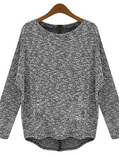 MYY/ Pullover Aux femmes Manches Longues Street Chic Coton Moyen , gray-xl , gray-xl