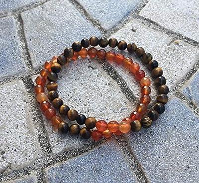 bracelet duo COUPLE amoureux ou amis protection éloignement guérison CORNALINE et OEIL DE TIGRE perles pierre naturelle semi-précieuse