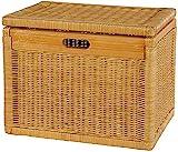 Hoher Korb mit Deckel Rattan geflochten Farbe Honig, Regalkorb, Aufbewahrungsbox