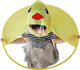 Saingace Unisex PVC Umbrella Hat Hands-Free Raincoat
