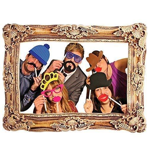 . Bunt Party Requisiten mit Foto Holzrahmen Fotokabine auf Stäbchen DIY Lustig für Hochzeit,Geburtstag,Weihnachten,Abschluss ()