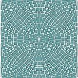 Luxuriöse Tapete, Mosaikstein-Effekt, Vinyl mit Prägedruck TEAL SILVER FD40128