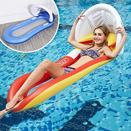 DOKJ Aufblasbarer Sessel, überdachte Markise, die aufblasbares Bett-Poolparty-Spielzeug schwimmt, faules Schwimmen im Schwimmbecken,Blue