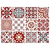 Planche de 12 Stickers Carrelage - Carreaux de Ciment - Redmonky - Dimensions d'un Sticker : 20 x 20 cm