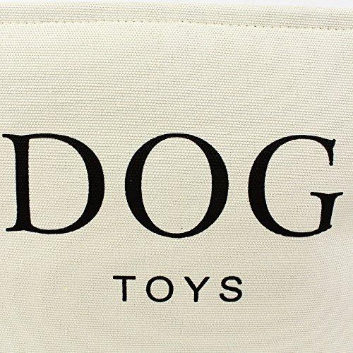 Hochwertiger Segeltuch-Korb für Hunde Spielzeug-Speicher – Sahnefarben-Kasten – 40cms x 30 cms x 25cms - 4