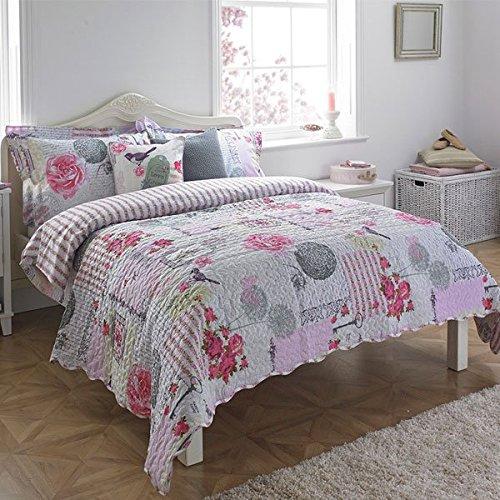 Paoletti Eden Patchwork 100% Coton 200 TC Couvre-lit matelassé, Rose, 240 x 260 cm