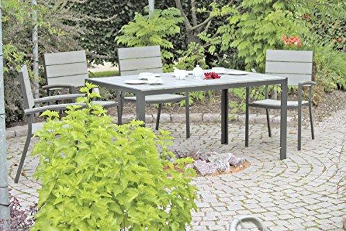 VARILANDO Stapelstuhl 'Oliver' aus Aluminium und non-wood in anthrazit Gartenstuhl Stuhl