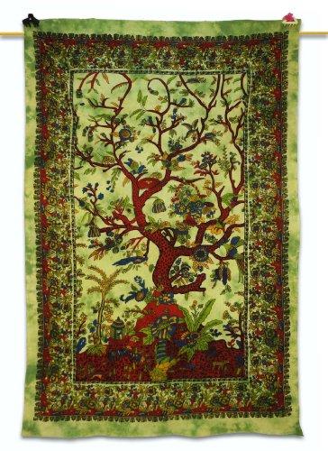 Handicrunch Baum des Lebens Hippie Wandteppiche Grüne Tischläufer Baumwolle Bettdecke 82
