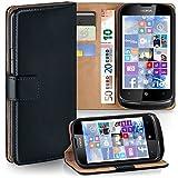 Pochette OneFlow pour Nokia Lumia 610 housse Cover avec fentes pour cartes | Flip Case étui housse téléphone portable à rabat | Pochette téléphone portable étui de protection accessoires téléphone portable protection bumper en DEEP-BLACK
