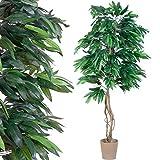 PLANTASIA Mangobaum, Echtholzstamm, Kunstbaum, Kunstpflanze - 180 cm, Schadstoffgeprüft