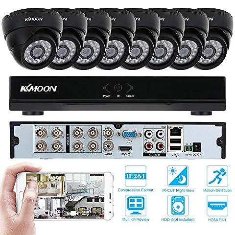 KKMOON Kit de Surveillance 8CH H.264 960H /D1 DVR avec Lot de 8 Caméras 800TVL IR-CUT Extérieur/ intérieur Vision Nocturne Détection de Mouvement CCTV pour Surveillance Système de Sécurité