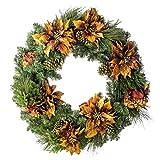 artplants Set 2 x Großer Weihnachtskranz, Kupfer-Gold, Ø 90cm - Tannenkranz - Adventskranz