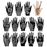 Xmasir 14 Stück Indien Henna Tattoo Schablone Set für Frauen Mädchen Hände Finger Körperbemalung Glitzer Tattoo und Air Brush Tattoo Temporary Tattoo Schablonen