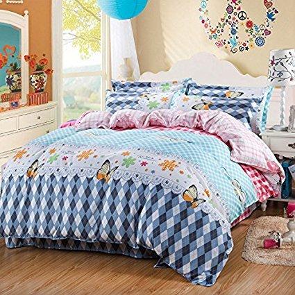 4Muster, Bettwäsche Sets Made mit hautfreundlichen Material (kein Tröster involviert), baumwolle, Butterfly, Blue, Twin(58