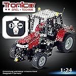 Tronico Metallbaukasten, RC Traktor Massey Ferguson MF-5430, ferngesteuert, 27 MHZ, 531 Teile, Maßstab 1:24, LED-Licht, 4-farbige Aufbauanleitung, inklusive Werkzeug, Junior Serie, ab 8 Jahren, rcee