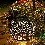 Farol Solar GolWof Solar Lantern Outdoor LED Luz Colgante Lámpara de Metal de Luces de Jardín Lámpara en Forma de Diamante - Plata