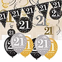 21st Birthday Decorations Black and Gold: 21st Birthday Bunting, Balloons, Hanging Decorations