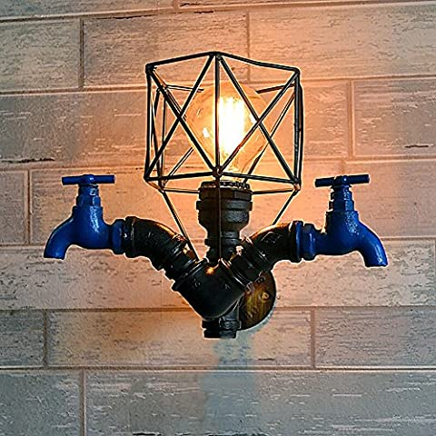 LOFT amerikanische Retro Industrie E27 Eisen Wasser Rohr Wasserhahn Wand Lampe Nostalgische Bar Club Restaurant Metall Hollow Vogelkäfig Dekorative Wand Licht 29CM * 25CM