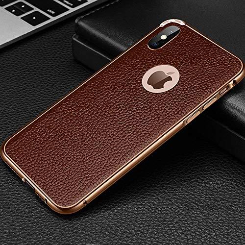 Leder-Metallrahmen Handyhülle für iPhone X XR XS MAX Schutzhülle iPhone 7/8 Plus Hülle Apple iPhone 7/8 Anti-Scratch Shock Absorption Handyhülle für iPhone, iPhone 7/8 Plus, Coffee