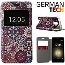 German Tech® - Funda carcasa tipo Libro con función soporte sin solapa para Bq Aquaris U Plus, Protege y se adapta a la perfección a tu Smartphone con ventana S-View con la que podrás ver todas tus notificaciones. Mandala.