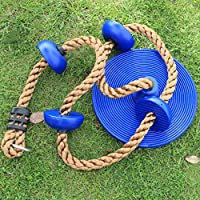 AIPINQI Kids Climbing Rope, 2m / 6.5ft Tree Climbing Rope with Foot Holder Platform and Disc Swing Seat Set Rope Ladder for Kids Outdoor Tree Backyard Playground Swing Support 440lbs/200kg,Blue