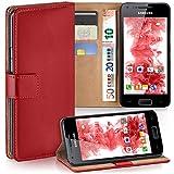 moex Samsung Galaxy S2 | Hülle Rot mit Karten-Fach 360° Book Klapp-Hülle Handytasche Kunst-Leder Handyhülle für Samsung Galaxy S2 / S2 Plus SII Case Flip Cover Schutzhülle Tasche