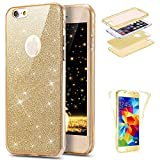 Hpory iPhone 7/iPhone 8 Plus Hülle Gold, 360 Full Body Transparent Silicone Handyhüllen Ultradünnen TPU Bling Glitzer Back Case Tasche Schutzhülle für iPhone 7/iPhone 8 Plus + 1 x Stylus-(Gold)