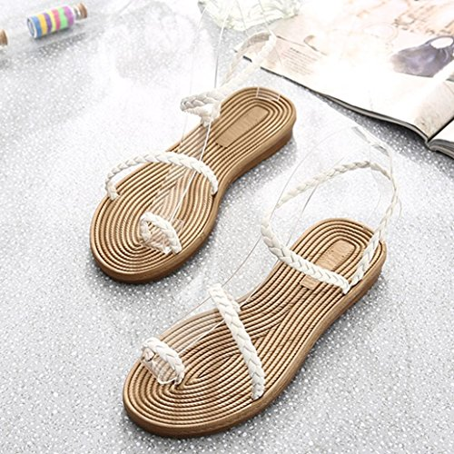 Bescita Flache Schuhe Frauen Weben Sandalen Zuhause Sandalen Sommerstrand Weiß