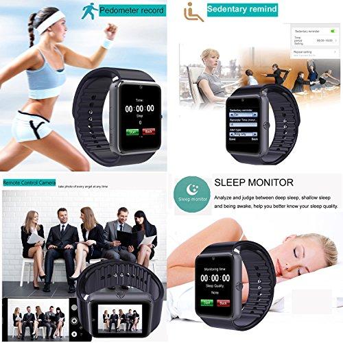 YAMAY® Bluetooth Smartwatch Uhr Intelligente Armbanduhr Fitness Tracker Armband Sport Uhr Telefon mit SIM-Kartenslot/Kamera/Schrittzähler/Schlaftracker/Romte Capture Kompatibel mit Android Smartphone -