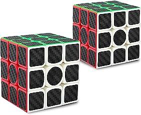 didisky Cubo Rubik 3x3, Adesivo in Fibra di Carbonio, Versione Migliorata, 5.7cm (Nero) [ 2 Pezzi ]