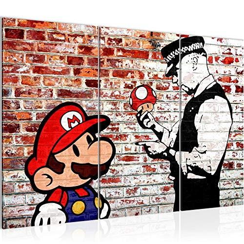 Bilder Mario and Cop Banksy Wandbild 120 x 80 cm Vlies - Leinwand Bild XXL Wandbilder Wohnzimmer Wohnung Deko Fertig zum Aufhängen 303031b (Wandbilder Für Wohnzimmer)