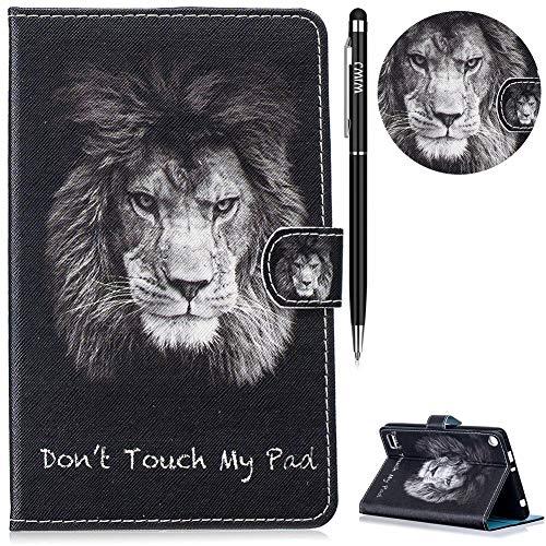 WIWJ Hülle Case für Amazon Fire 7 Zoll (5. Generation/2015),Ultra Slim Gemalt Schutzhülle Tasche Case Mit Schlaffunktion 3D lackiertes Tablet Lederetui Lederhülle-Englischer Löwe