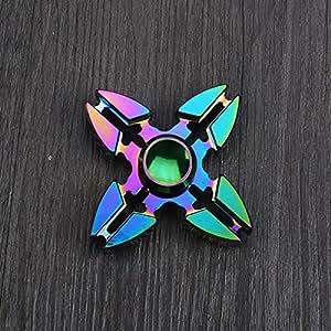 Reusious Finger Spinner Fidget Cube mit Knopf Anti Reizbarkeit Stress Relief Spielzeug für Erwachsene und Kinder (vier Ecken)