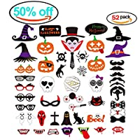 Heall Halloween Deko kürbis Bild Spider fledermäuse Party Bart und Hut geschenke - Fotos Halloween Horror makeup mask 52pcs