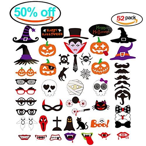 Heall Halloween Deko kürbis Bild Spider fledermäuse Party Bart und Hut geschenke - Fotos Halloween Horror makeup mask 52pcs