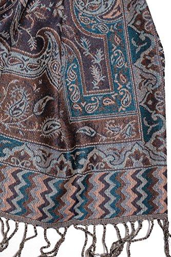 Foulard Pashmina chaud d'Inde, Paisley, 180x70 cm - 60% soie, 40% laine Bleu
