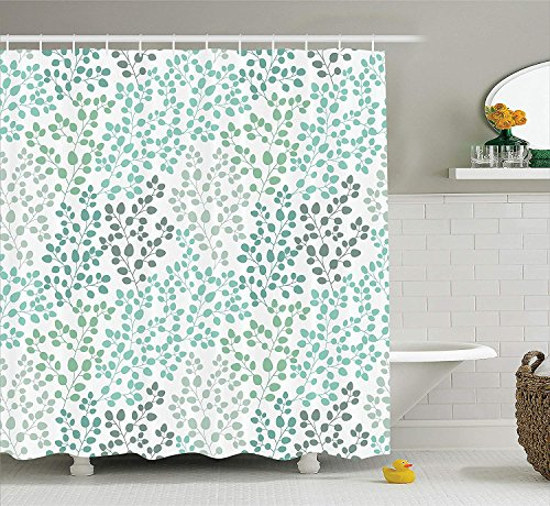 Teal Shower Curtain Pink Blossoms Decor by, Leaves and Plants Ombre Spring Japanese Sakura Flowers in Garden Park, Bathroom Decorations, with Hooks, Petrol Blue Pink 60 X 72 INCH (Teal Duschvorhang Ombre)