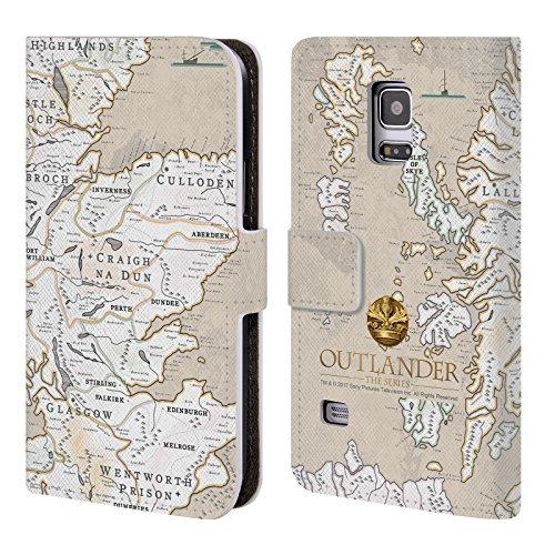 Offizielle Outlander Karte Siegel Und Ikonen Brieftasche Handyhülle aus Leder für Samsung Galaxy S5 mini