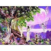 Kit de pintura de diamante 5D, diseño de ángeles y elfos con cristales de diamante
