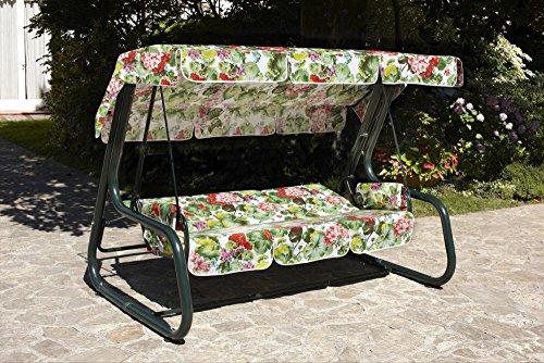 Ideapiu Balancelle de Jardin Transformable en lit, balancelle de Jardin 4 Places, Bascule Master Scab, lit dondoli Blanc, revêtement et Toit Coton Floraux