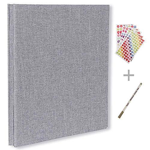 Álbum de fotos autoadhesivo, álbum de recortes magnético, 40 páginas, tapa dura, 28 x 26 cm, con caja de almacenamiento para álbum de fotos, kit de accesorios de bricolaje gris