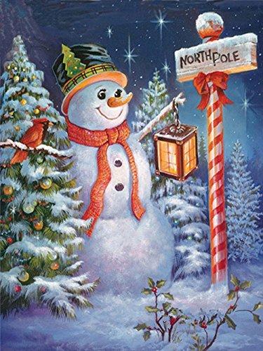 Hukz Diamant Malerei,5D Diamant Malerei Weihnachten Schneemann Stickerei DIY Kreuzstich Kit Weihnachtsdekorch FüR Haus, Wand Und Eingang Dekorationen Sein (E:20 * 25cm)