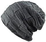 CAPRIUM warme Feinstrick Beanie Mütze mit Flecht Muster und sehr weichem Fleece Innenfutter, Unisex 00065254 (Grau 62007)