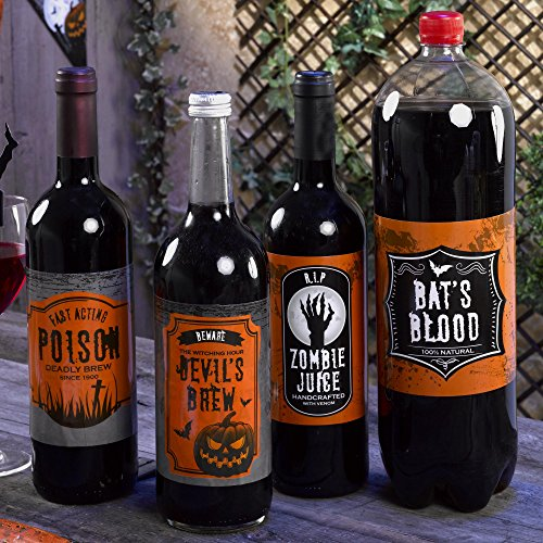 Premium Weddings Scary Halloween Flaschenetiketten 4 St. - Grusel Deko Halloween Party Etiketten (Flaschenetiketten Scary Halloween)