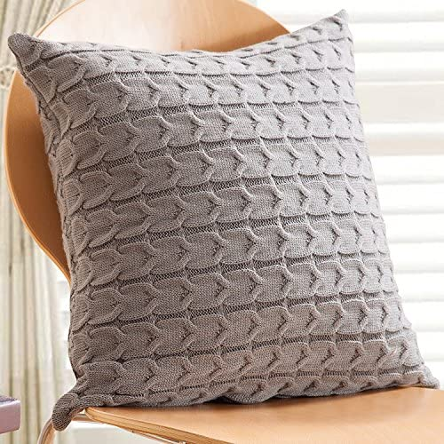 Cavo a maglia throw Pillow case, home office cuscino decorativo decorativo decorativo di cotone, 45 x 45 cm, grigio, 1 Cover 45x45cm  1 Pillow 50x50cm B075M6ZV2R Parent | Garanzia di qualità e quantità  | prezzo di sconto speciale  | all'ingrosso  8e07b9