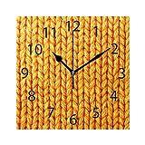 XiangHeFu Horloge Murale carrée 20,3 x 20,3 cm Jaune Silencieux Texture Bay Décoration pour la Maison, Le Bureau, l'école
