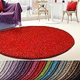 casa pura Shaggy Teppich Barcelona | weicher Hochflor Teppich für Wohnzimmer, Schlafzimmer, Kinderzimmer | GUT-Siegel + Blauer Engel Größen | Rund 200 cm Durchmesser | Rot